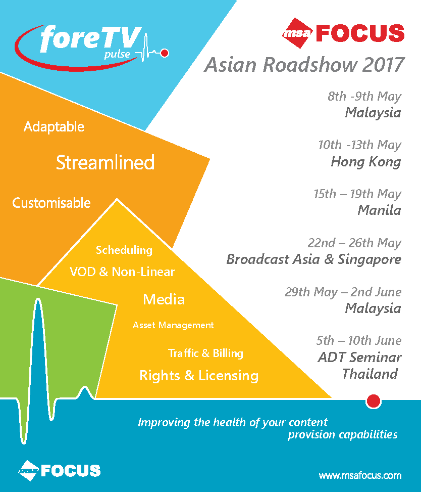MSA Focus Asian Roadshow dates and locations